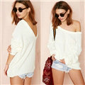 Fashion Sweater Strapless Design Back Deep V Bubble Sleeve Loose - White