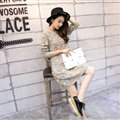 Fashion Winter Dresses Woolen Knee Length O-Neck Stripe Acrylic Full Sleeve Pocket - Beige