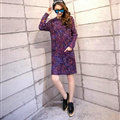 Fashion Winter Dresses Woolen Knee Length O-Neck Stripe Acrylic Full Sleeve Pocket - Purple