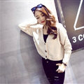 Female Sweater Flat Knitted Solid Button Cardigan Sleeves Short Thin - Beige