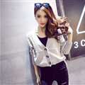 Female Sweater Flat Knitted Solid Button Cardigan Sleeves Short Thin - Grey