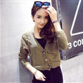 Female Sweater Flat Knitted Solid Button Cardigan Sleeves Short Thin - Khaki