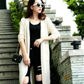 Female Sweater Long Paragraph Cardigan Loose Coat Pockets Flat Knitted - Beige