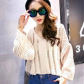 Female Sweater Loose Cut Short Lantern Sleeve Solid Thin - Beige