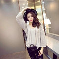 Female Sweater Loose Cut Short Lantern Sleeve Solid Thin - Grey