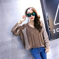 Female Sweater Loose Cut Short Lantern Sleeve Solid Thin - Khaki