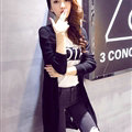 Female Sweater Solid Cardigans Long Sleeved Cardigan Open Stitch - Black