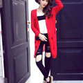 Female Sweater Solid Cardigans Long Sleeved Cardigan Open Stitch - Red