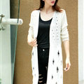 Female Sweater Solid Cardigans Long Sleeved Cardigan Open Stitch - White
