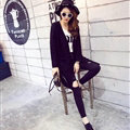 High Quality Sweater Winter Cardigan Pocket Female Street Fashion - Black