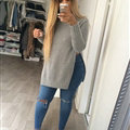 Long Sleeved Women Sweater Cardigans Solid Casual Flat Knitted - Grey