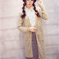 Long Sweater Solid V-Neck Open Stitch Winter Cardigan - Beige