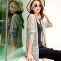 Long Sweater Solid V-Neck Open Stitch Winter Cardigan - Grey