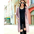Long Sweater Solid V-Neck Open Stitch Winter Cardigan - Pink