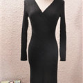 Sexy Dresses Knitting Winter Knee Length Women Work Wear V-neck - Black