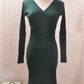 Sexy Dresses Knitting Winter Knee Length Women Work Wear V-neck - Blackish Green