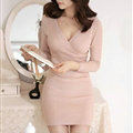 Sexy Dresses Knitting Winter Knee Length Women Work Wear V-neck - Pink