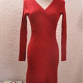 Sexy Dresses Knitting Winter Knee Length Women Work Wear V-neck - Red
