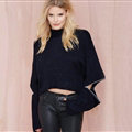 Style Sweaters Womens Opening Short Paragraph Collar Jacket Zipper - Black