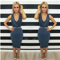 Summer Low Collar Sexy Dresses Fall New Spot Double-layer Neckline Cascading Ruffle - Blue