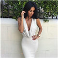 Summer Low Collar Sexy Dresses Fall New Spot Double-layer Neckline Cascading Ruffle - White