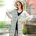 Sweater Cardigan Jacket Women Flat Knitted Loose Shawl Hollowed - Grey