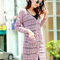 Sweater Cardigan Jacket Women Flat Knitted Loose Shawl Hollowed - Pink