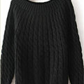 Sweater Classic Women Sleeve Pure Thick Solid O-Neck - Black