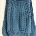 Sweater Classic Women Sleeve Pure Thick Solid O-Neck - Blue