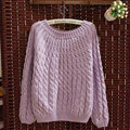 Sweater Classic Women Sleeve Pure Thick Solid O-Neck - Purple