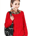 Sweater Classic Women Sleeve Pure Thick Solid O-Neck - Red