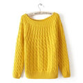 Sweater Classic Women Sleeve Pure Thick Solid O-Neck - Yellow