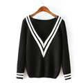 Sweater Deep V Collar Cotton Striped Knitted Female Burst Models - Black