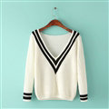 Sweater Deep V Collar Cotton Striped Knitted Female Burst Models - White