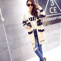 Sweater Fashion Girls Winter Cardigan Long Loose Pocket Color Flat Knitted - Beige