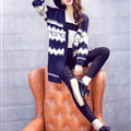 Sweater Fashion Girls Winter Cardigan Long Loose Pocket Color Flat Knitted - Black