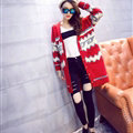 Sweater Fashion Girls Winter Cardigan Long Loose Pocket Color Flat Knitted - Red