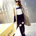 Sweater Fashion Skinny Girls Winter Hand Knitted Cardigan Thick Warm Knee Long - Beige
