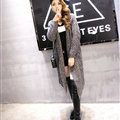 Sweater Fashion Skinny Girls Winter Hand Knitted Cardigan Thick Warm Knee Long - Grey