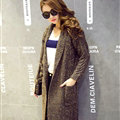Sweater Fashion Skinny Girls Winter Hand Knitted Cardigan Thick Warm Knee Long - Khaki