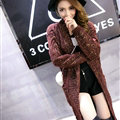 Sweater Fashion Skinny Girls Winter Hand Knitted Cardigan Thick Warm Knee Long - Red