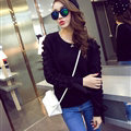 Sweater Female Thick Warm Winter Mosaic Personality Tide O-Neck - Black