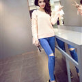 Sweater Female Thick Warm Winter Mosaic Personality Tide O-Neck - Pink