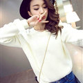Sweater Female Thick Warm Winter Mosaic Personality Tide O-Neck - White