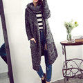 Sweater Girl Thick Warm Cardigan Flat Knitted Collar Fashion Long Burst - Black