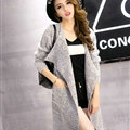 Sweater Girl Thick Warm Cardigan Flat Knitted Collar Fashion Long Burst - Grey