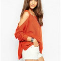 Sweater Girl Winter Hot Explosion Camisole Solid Loose Batwing Sleeve - Red