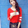 Sweater Hitz V Collar Pullover Female Three Quarter Sleeve Slim - Red
