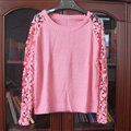 Sweater Lace Sleeves Stitching Women Patchwork Flowers - Pink