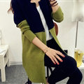 Sweater Mandarin Collar Stitching Color Slim Long Paragraph Girl - Green